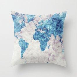 world map 52 blue Throw Pillow