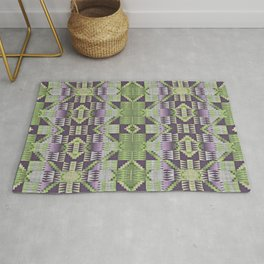Violet Purple Pink Lime Green Native American Indian Mosaic Pattern Rug