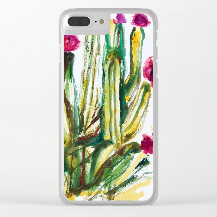 Crazy Cactus Clear iPhone Case