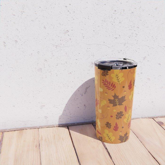 Fall Pattern on Orange Travel Mug