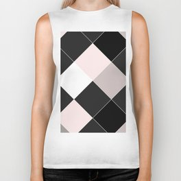 Blush pink black gray geometrical argyle diamond pattern Biker Tank