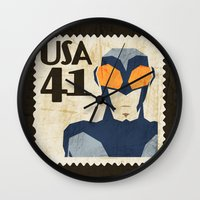 superheros Wall Clocks featuring Blue Beetle  by Teighe Armour Thorsen