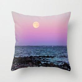 Full Moon on Blue Hour Throw Pillow