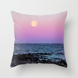 Full Moon on Blue Hour Throw Pillow