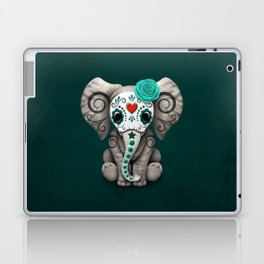 Teal Blue Day of the Dead Sugar Skull Baby Elephant Laptop & iPad Skin