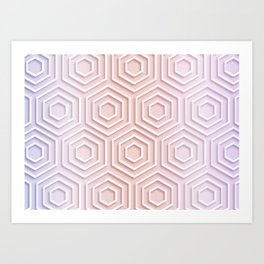 3D Hexagon Gradient Minimal Minimalist Geometric Pastel Soft Graphic Rose Gold Pink Art Print