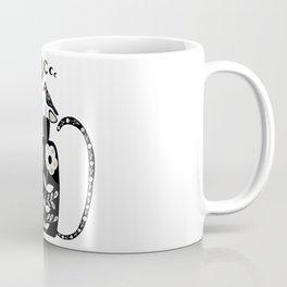 Black Cat and Moon Phase Folk Art Coffee Mug