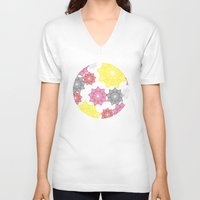 floral pattern V-neck T-shirts featuring Floral Pattern by C Designz