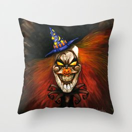 HALcLOWnEEN Throw Pillow