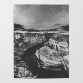 Southwest Starry Night Black and White Poster