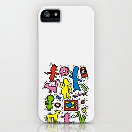 Keith Haring & Simpsons iPhone Case