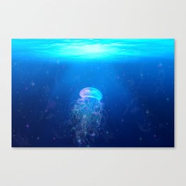 Glowing and sparkling blue jellyfish swimming in mystical deep blue ocean Canvas Print