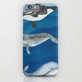 Watercolor Whales  iPhone Case