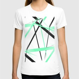 Criss Crossed Mint Green and Black Stripes on White T-shirt