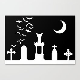 The Graveyard By Moonlight Canvas Print