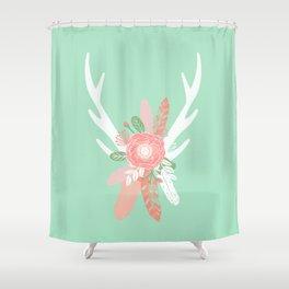 Deer antler florals flower bouquet with antlers minimal boho nursery art decor Shower Curtain
