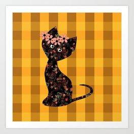 Yellow plaid, cat Art Print