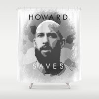 tim burton Shower Curtains featuring Tim Howard Saves by Tim Stahl