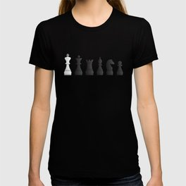All black one white chess pieces T-shirt