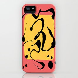 Paint Dance Yellow Square on Pink iPhone Case