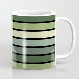 Multicolored Stripes: Shades of Green Coffee Mug
