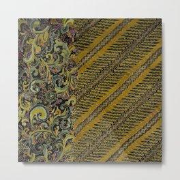 Batik Parang Filigree Metal Print