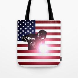 Welding: Welder & American Flag Tote Bag
