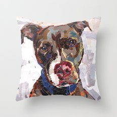 Moose The Red Nose Pit Bull Throw Pillow