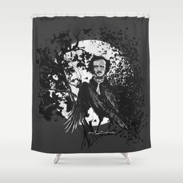 Unlikely Meeting in The Moonlight with Mr Edgar Allan Poe Shower Curtain
