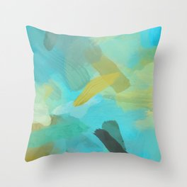 splash painting texture abstract background in blue and yellow Throw Pillow