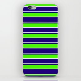 Nautical Stripes, Navy, Chartruce and White iPhone Skin