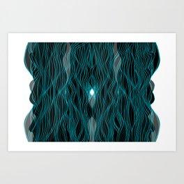 Parallel Lines No.: 03. - Blue, Double Symmetrical Art Print