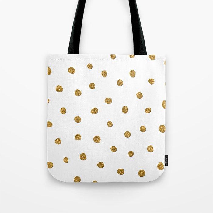 Golden touch II - Gold glitter polkadots Tote Bag