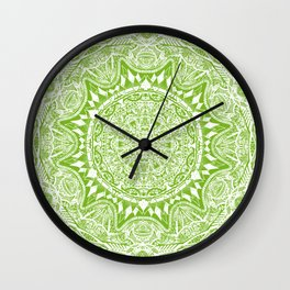 Green Mandala Wall Clock