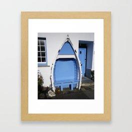 BLUE BOAT BENCH SEAT BOSCASTLE CORNWALL Framed Art Print