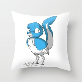 Light Blue/Color-Or-Paint-Your-Own Reptilian Bird #ArtofGaneneK #Animal Throw Pillow