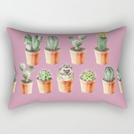 Watercolor cactus and hedgehog friend Rectangular Pillow