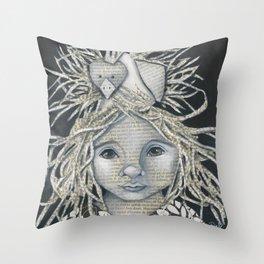 Girl Bird Forest Nymph  Throw Pillow