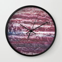Red violet marble abstract watercolor Wall Clock