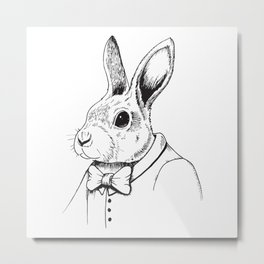 Hipster Bunny Metal Print