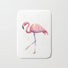 Flamingo Watercolor Pink Bird Bath Mat