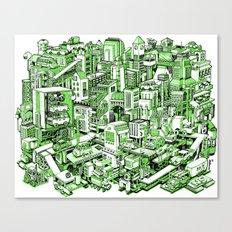 City Machine - Green Canvas Print