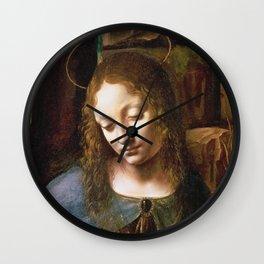 Leonardo Da Vinci - Detail Of The Head Of The Virgin  From The Virgin Of The Rocks Wall Clock