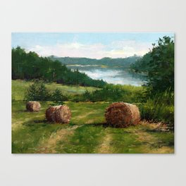 Hay Bale View of Shelburne Pond Canvas Print