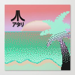 Vaporwave Sunset Pixel Art Canvas Print