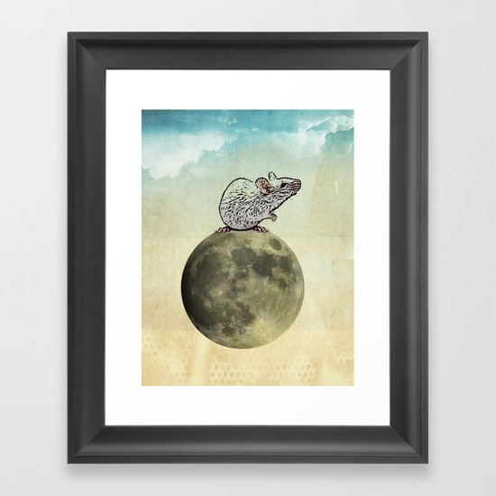 Tiny and the Cheese Moon Framed Art Print