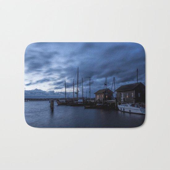 Blue hour at harbour Bath Mat