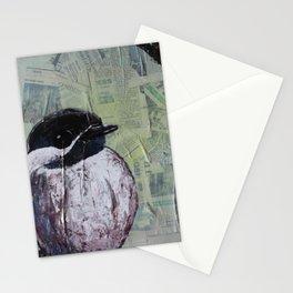 Chickadee Bird on Newsprint Stationery Cards