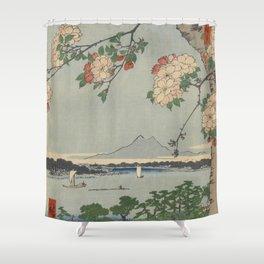 Cherry Blossoms on Spring River Ukiyo-e Japanese Art Shower Curtain