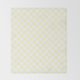 White and Cream Yellow Checkerboard Throw Blanket